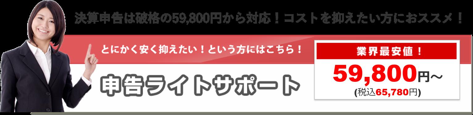 申告ライトサポート 業界最安値 59,800円~